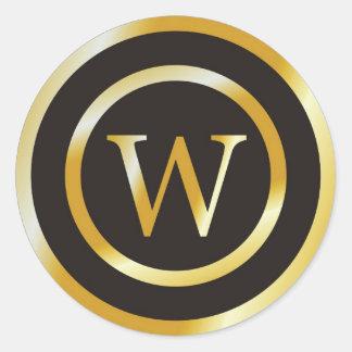Initial W Gold Monogram Wedding  Stickers
