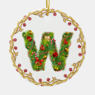 initial W monogrammed christmas ornament - circle