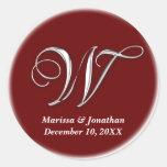 Initial W wine red monogram custom name favor seal Sticker