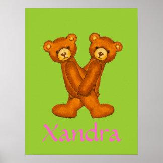 Initial X~Teddy Bear Alphabet Letter~Custom Name Poster