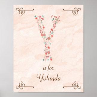 Initial Y Baby Name Monogram Art Print