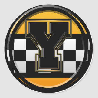 Initial Y taxi driver Classic Round Sticker
