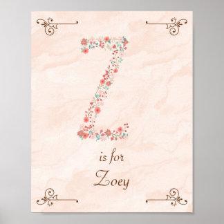 Initial Z Baby Name Monogram Art Print