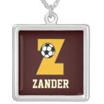 Initial Z in Soccer Gold Necklace