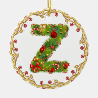 initial Z monogrammed christmas ornament - circle