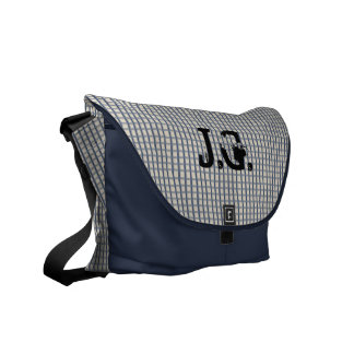 Initialed Country Blue Gingham Courier Bag