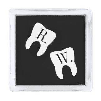 Initialed Teeth Dentistry Profession Symbol Custom Silver Finish Lapel Pin
