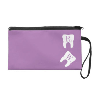 Initialed Teeth Dentistry Symbol Lavender Wristlet Purse