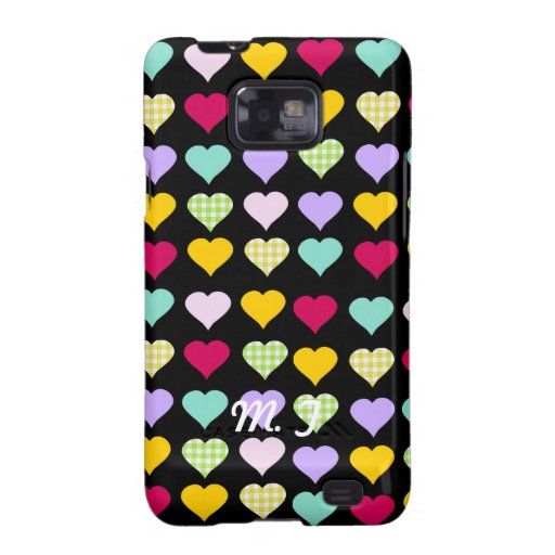 Initialized colorful hearts design samsung galaxy cover