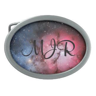 Initialled Trifid Nebula, Messier 16 Oval Belt Buckle