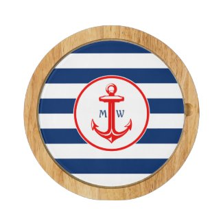 Initials and Anchor on Stripes Pattern Round Cheese Board
