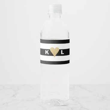 Valentines Themed Initials and Gold Heart on Black Stripes Wedding Water Bottle Label