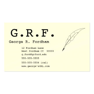 Initials and Quill Point Pen Business Card Template