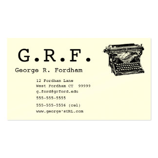Initials and Typewriter Double-Sided Standard Business Cards (Pack Of 100)