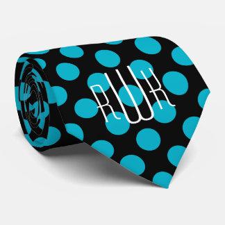 Initials Aqua Black Polka Dots Neck Tie