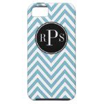 Initials Beautiful Blue White Chevron Pattern iPhone 5 Case