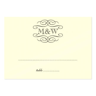 Initials black scroll wedding escort seating place business cards