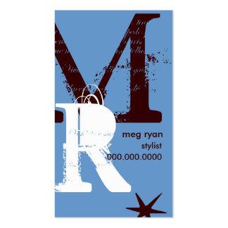 Initials Blue Vertical Business Card