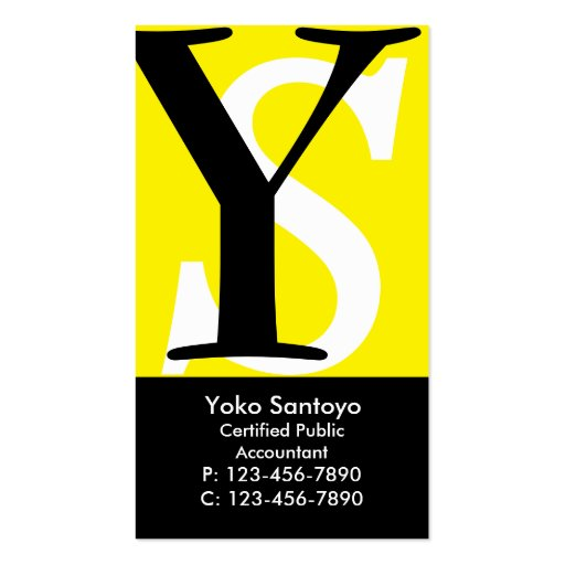 Initials Business Card/ Yellow