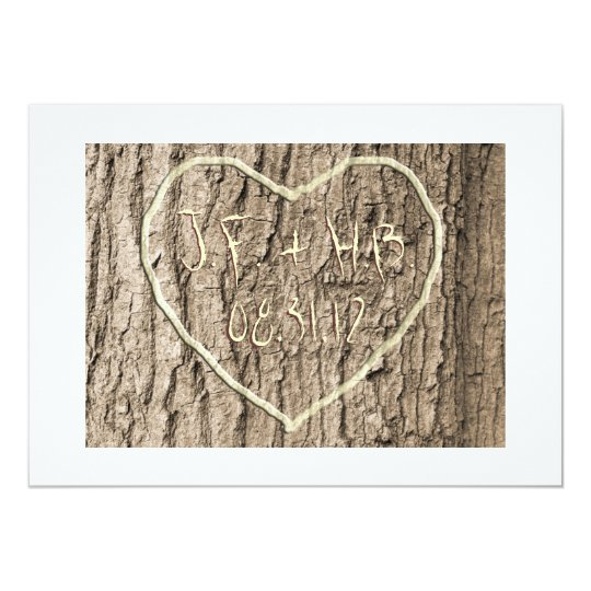 Initials Carved in Tree Save the Date Card