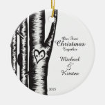 Initials Carved On Tree Couples Christmas Double-Sided Ceramic Round Christmas Ornament