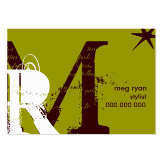 Initials Green Chubby Large Business Card