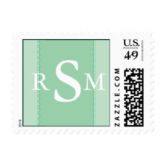 Initials Green Scallop Edges Postage