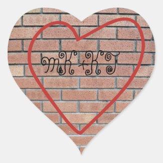 Initials in Heart Love Graffiti Stickers