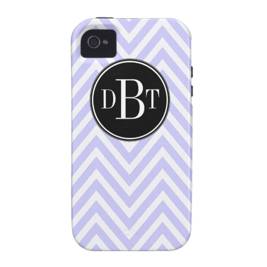 Initials Lilac Purple White Chevron Pattern Case-Mate iPhone 4 Case