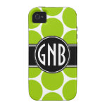INITIALS LIME GREEN POLKA DOTS iPhone 4 Case