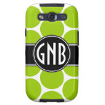 INITIALS LIME GREEN POLKA DOTS Samsung Case Galaxy S3 Covers