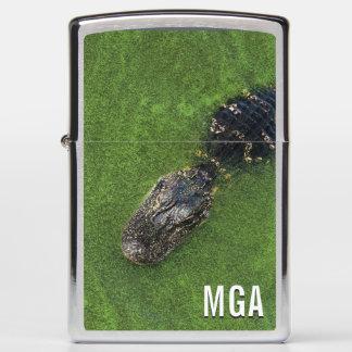 Initials Monogram • Alligator • Florida Nature Zippo Lighter