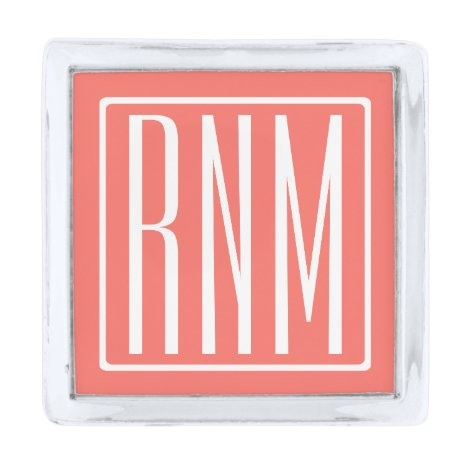 Initials Monogram   White On Coral Silver Finish Lapel Pin