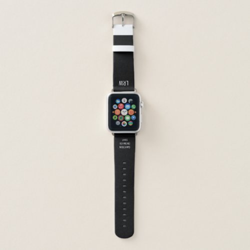 initials (monogram) with full name on black apple watch band