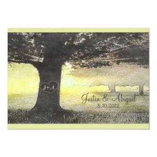 Initials on a Tree - Wedding Invitation