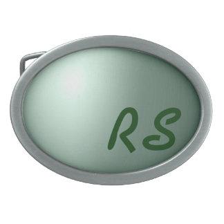 Initials on Green Ball Belt Buckle