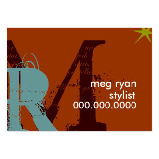 Initials Orange Chubby Large Business Cards (Pack Of 100)