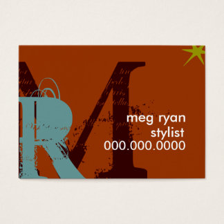Initials Orange Chubby Business Card