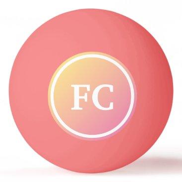 Initials Pink Gradient Ping Pong Ball