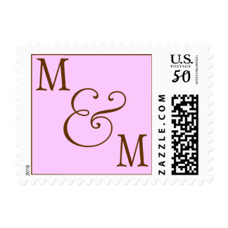 INITIALS  POSTAGE PINK AND BROWN