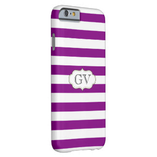 Initials Purple Violet & White Stripes Monogram Barely There iPhone 6 Case