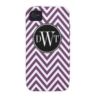Initials Purple White Chevron Pattern Vibe iPhone 4 Cover