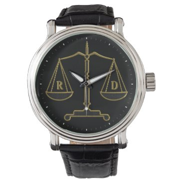 Initials Scales of Justice | Law Best Gifts Wrist Watch