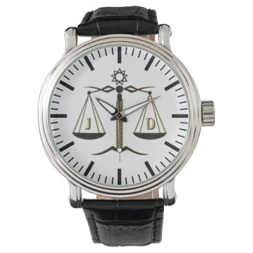 Initials Scales of Justice | Law Best Gifts Wristwatch