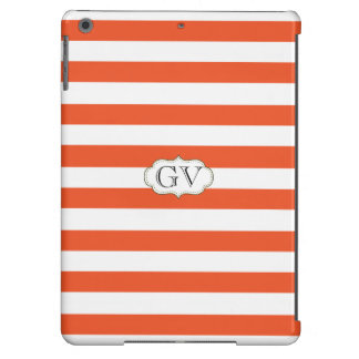 Initials Tangerine Tango & White Elegant Striped Cover For iPad Air
