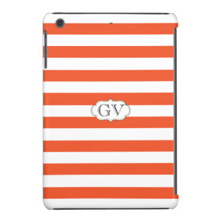 Initials Tangerine Tango & White Elegant Striped iPad Mini Retina Cover