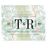 Initials Tropical Typography Rehearsal Dinner Card