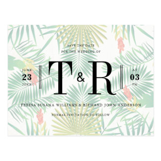 Initials Tropical Typography Save The Date Postcard