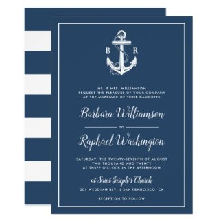 Initials Typography | Nautical Blue Anchor Wedding Invitation
