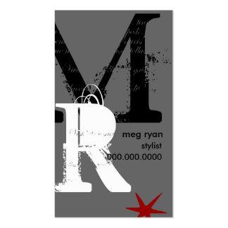 Initials Vertical Grey Regular Size Business Card
